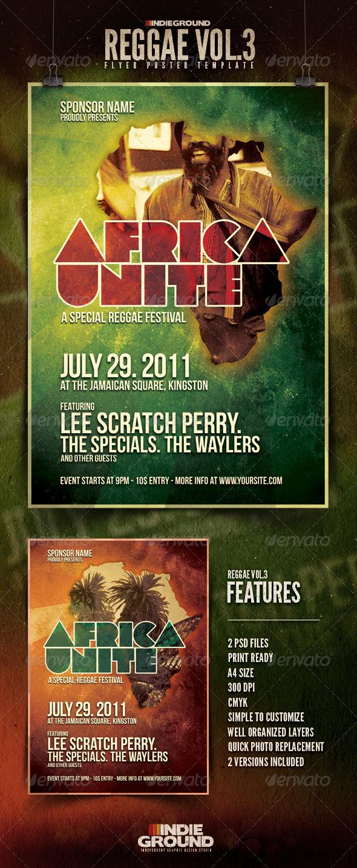GraphicRiver Africa Unite Reggae Flyer Poster Vol 3 145342