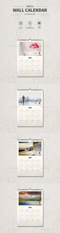 Clean Wall Calendar 2016