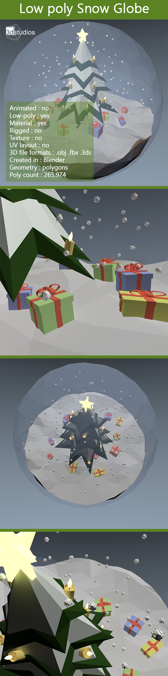 Low Poly Snow Globe - 3DOcean Item for Sale