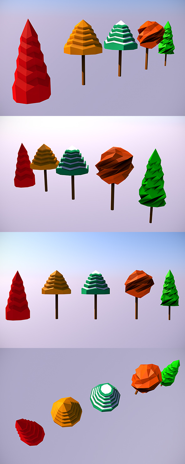 Low Poly Trees - 2 - 3DOcean Item for Sale
