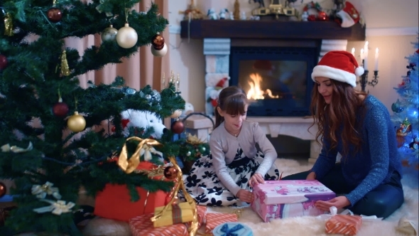 Girl Enjoying Her Christmas Present