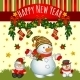 Holiday Card with Santa and Two Snowmen