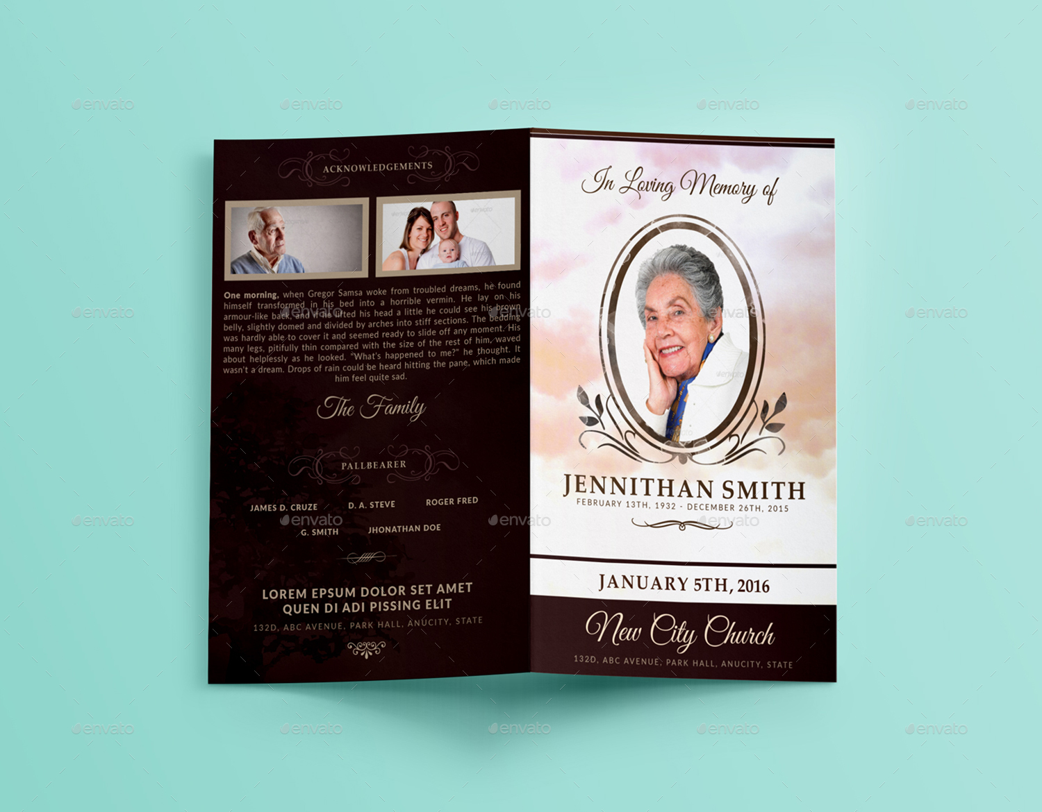 Loving memory funeral program brochure template 01 by for Funeral brochure template