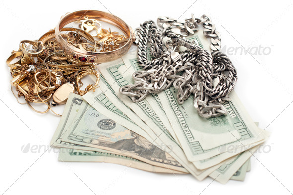PhotoDune gold and silver pile scrap and cash dollar 1411906