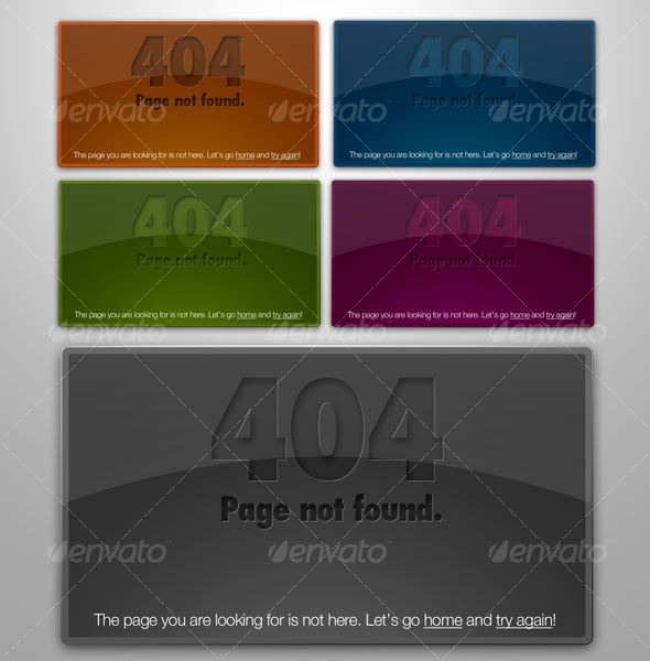 Web 2.0 Glossy & Letterpressed 404 Error Boxes