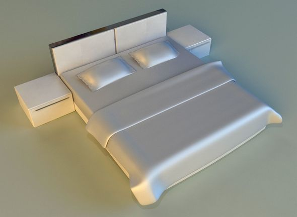 Bed white leather - 3DOcean Item for Sale