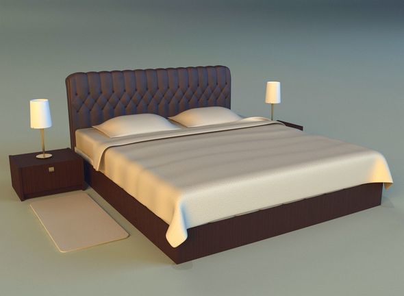 Bed with a leather base - 3DOcean Item for Sale