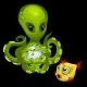 Evil Green Octopus With Magic Sphere And Goldfish