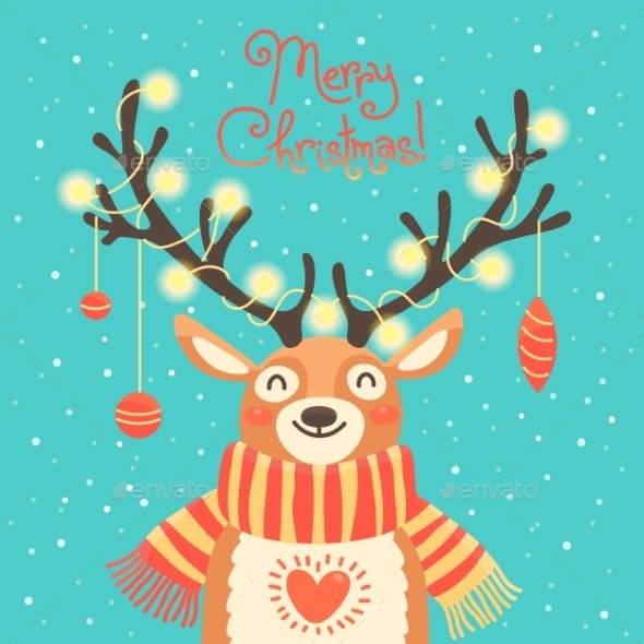 Christmas Card Cute Cartoon Deer With Garlands