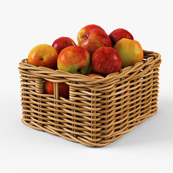Wicker Apple Basket Ikea Byholma 1 Natural - 3DOcean Item for Sale