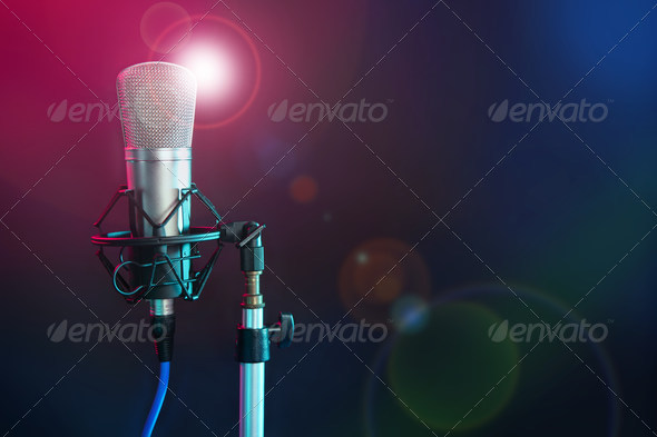 PhotoDune Microphone in the night colorful light 1423173