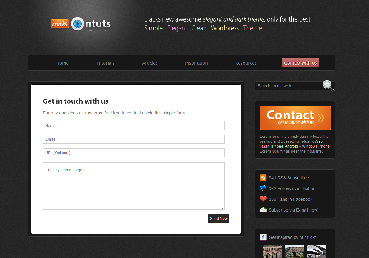 Cracks - Community Theme - Contact page to receive messages to your e-mail contact, need implement PHP code.