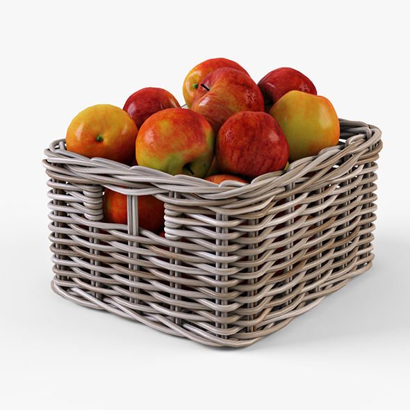 Wicker Apple Basket Ikea Byholma 1 Gray - 3DOcean Item for Sale