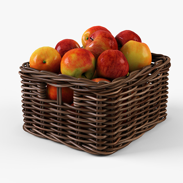 Wicker Apple Basket Ikea Byholma 1 Brown - 3DOcean Item for Sale