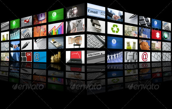 PhotoDune Big Panel of TV screen internet business 1434277