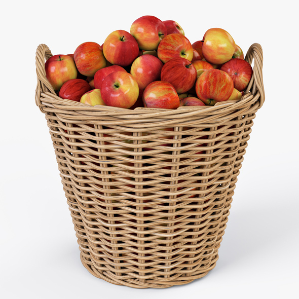 Wicker Basket Ikea Nipprig with Apples - 3DOcean Item for Sale