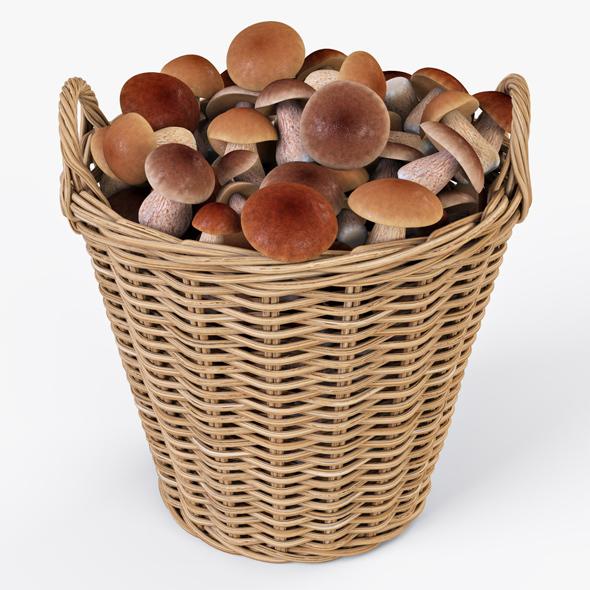 Wicker Basket Ikea Nipprig with Mushrooms - 3DOcean Item for Sale