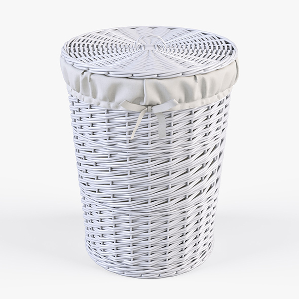 Wicker Laundry Basket 03 (White Color) - 3DOcean Item for Sale
