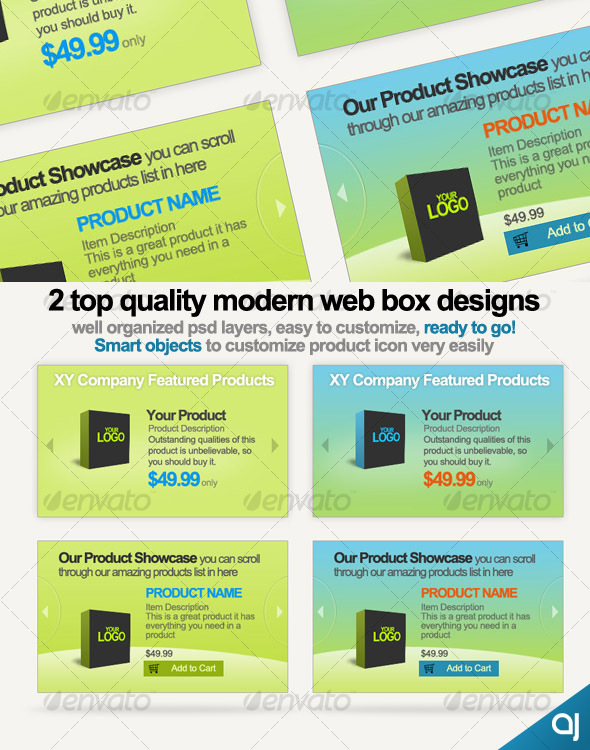 GraphicRiver 2 Style web boxes for product showcase display 56029