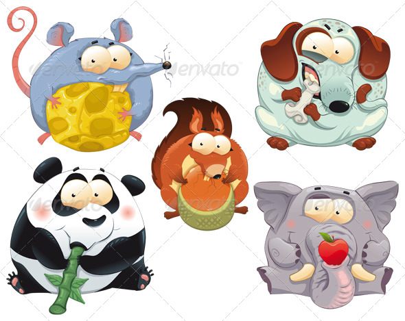 Group of funny animals with food.