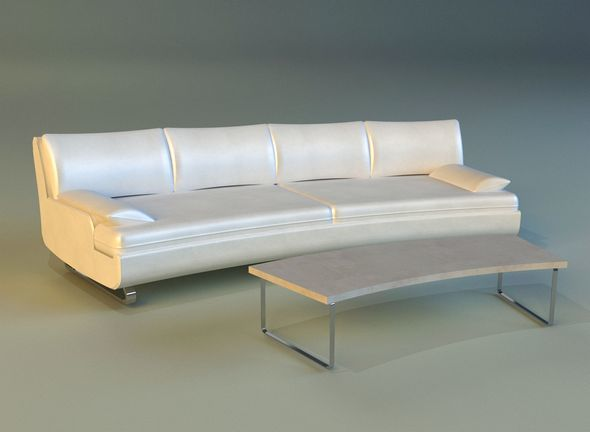 Sofa luxury leather white - 3DOcean Item for Sale