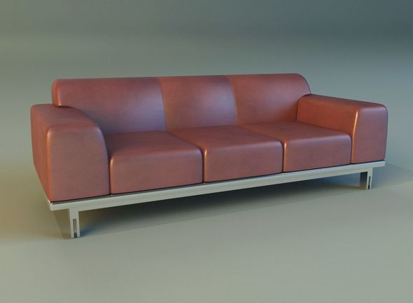 Sofa leather modern steel - 3DOcean Item for Sale
