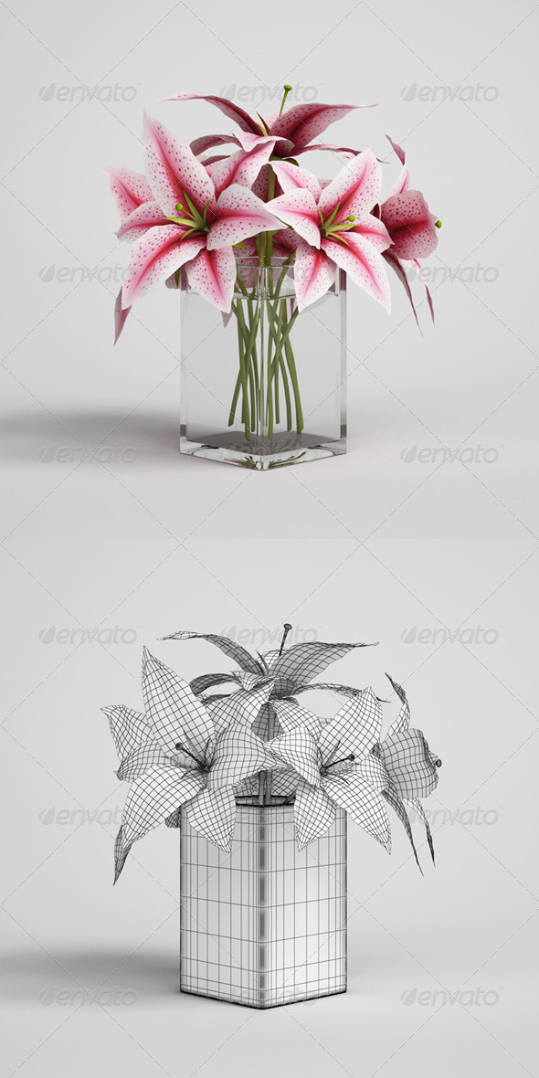 3DOcean CGAxis Flowers in Vase 03 168175