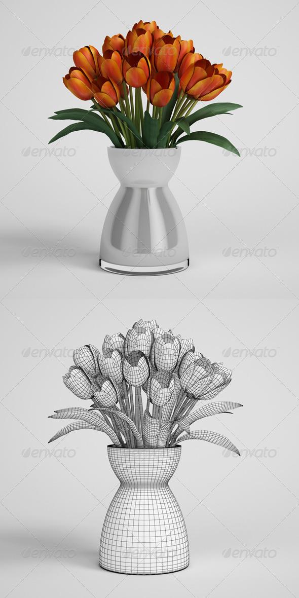 3DOcean CGAxis Tulips in Vase 06 168187