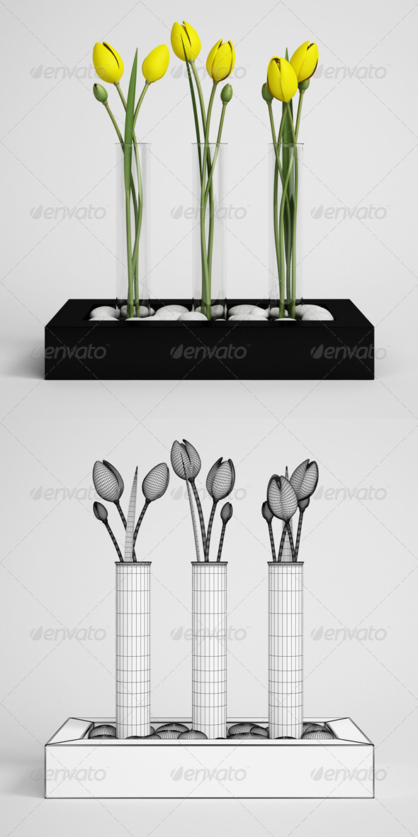 CGAxis Tulips in Vase 11 - 3DOcean Item for Sale