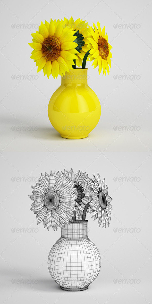 3DOcean CGAxis Sunflowers in Yellow Vase 14 168208