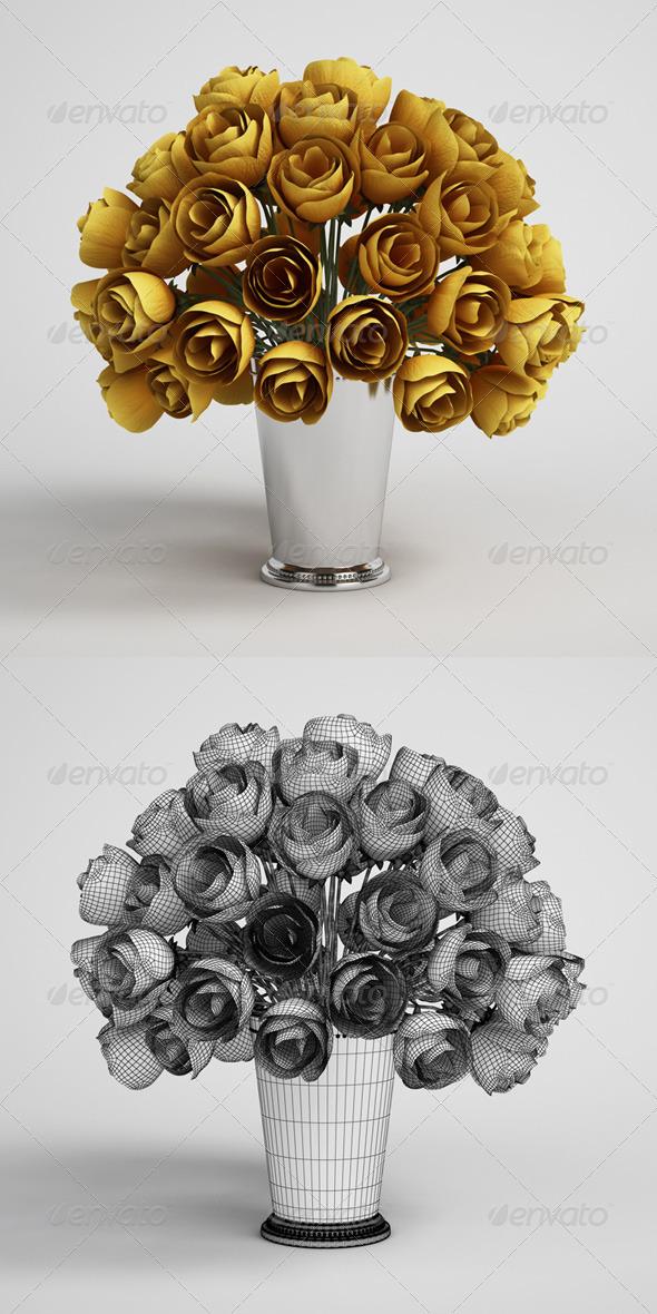 3DOcean CGAxis Flower Bouquet in Vase 15 168209