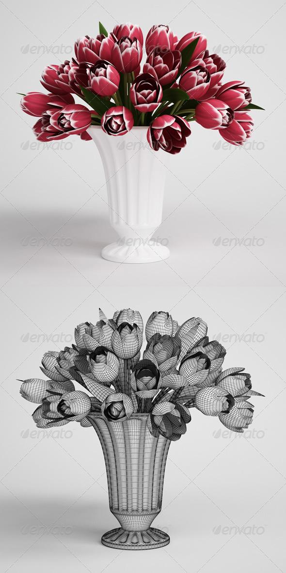 CGAxis Tulip Bouquet in Vase 16