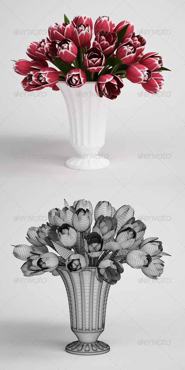3DOcean CGAxis Tulip Bouquet in Vase 16 168213