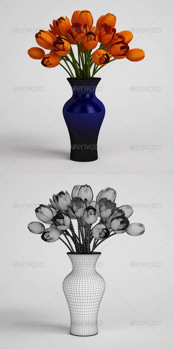 CGAxis Orange Tulips in Blue Vase 25 - 3DOcean Item for Sale