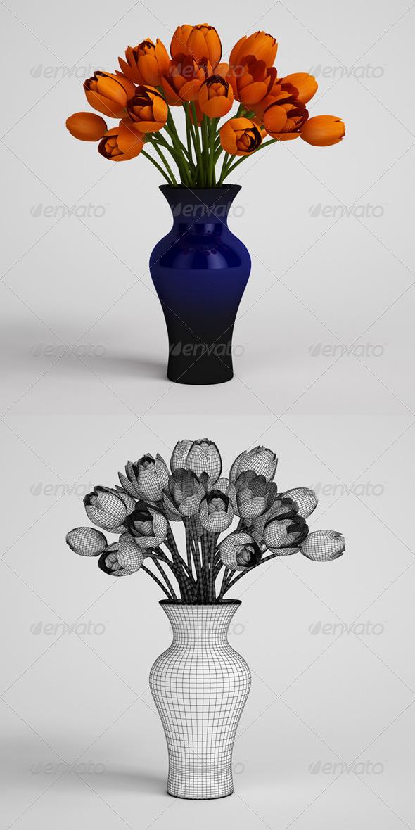 3DOcean CGAxis Orange Tulips in Blue Vase 25 168227