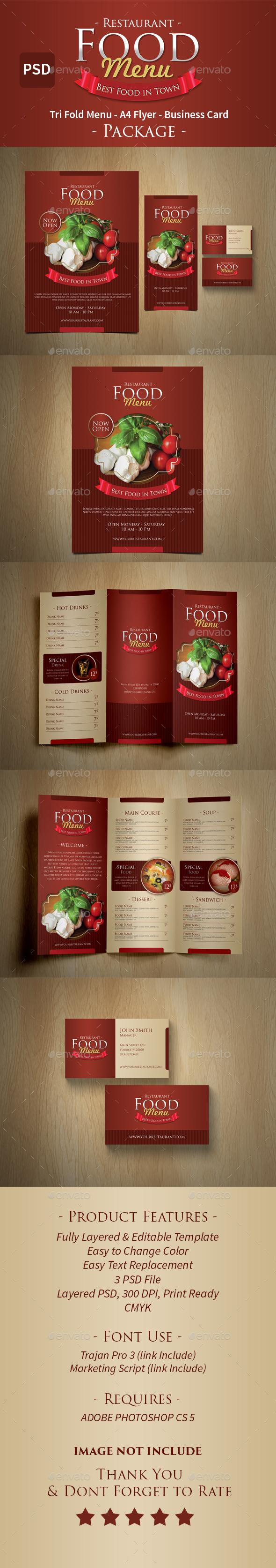 Elegant Food Menu Set