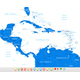 Central America Map and Set with Navigation Icons