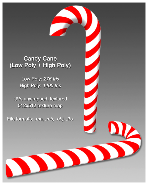 Candy Cane (Low Poly + High Poly) - 3DOcean Item for Sale