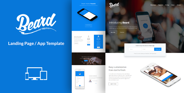 Beard app landing page html template by lumberjacks for Jquery landing page templates