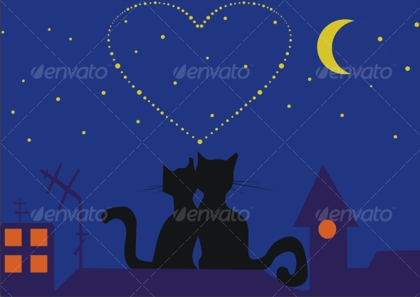 Cats at night - Backgrounds Decorative