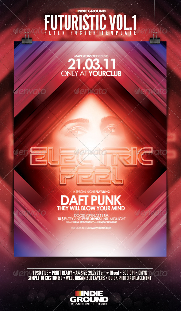 Futuristic Flyer/Poster - Clubs & Parties Events