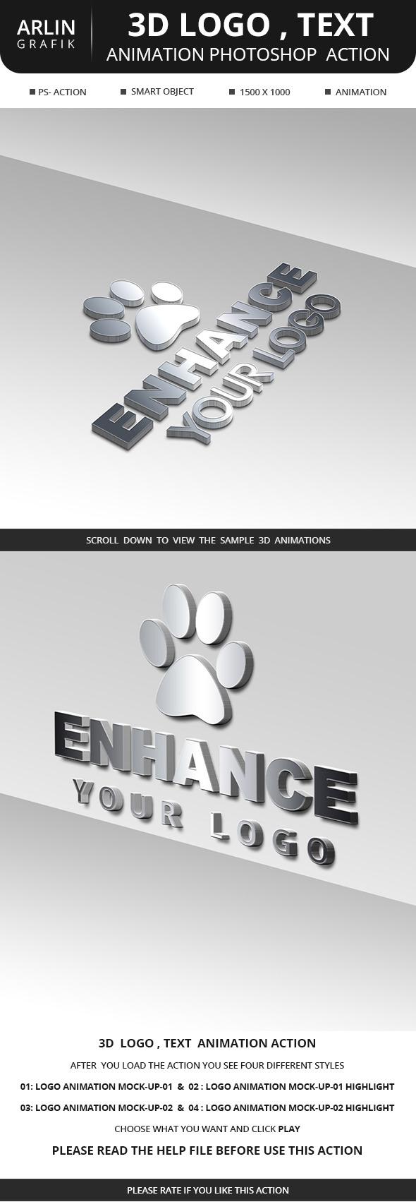 3D Logo , animation  photoshop Action