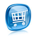 shopping cart icon blue glass, isolated on white background. - PhotoDune Item for Sale