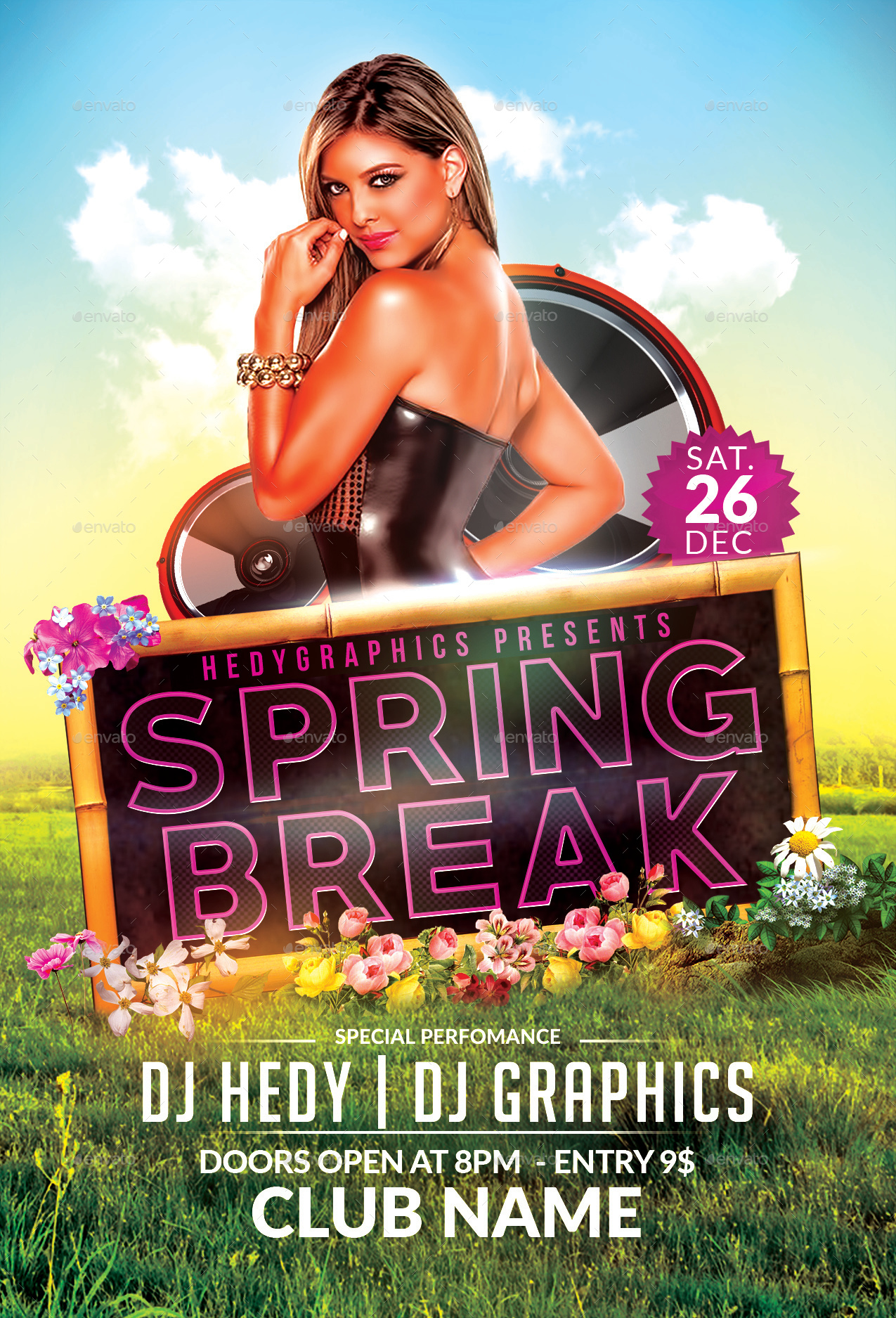 Spring Break Flyer Template by HedyGraphics – Spring Party Flyer