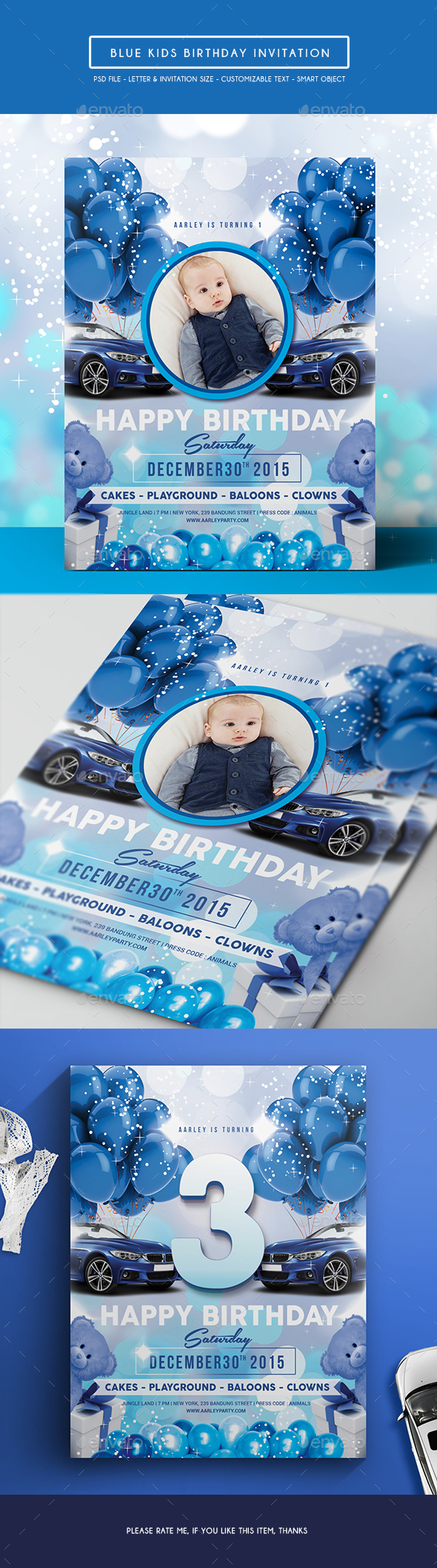 Blue Kids Birthday Invitation