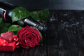 Valentine's day roses and champagne