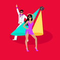 Disco and Electronic Dance Concept Flat Design