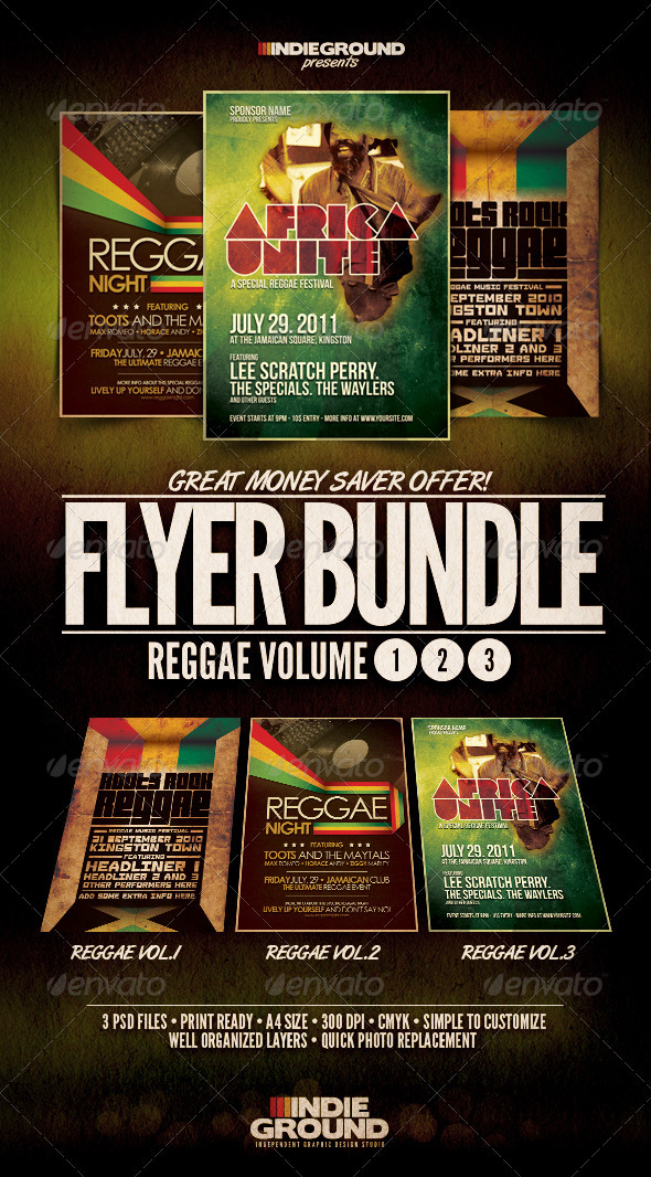 Reggae Flyer/Poster Bundle Vol. 1-3 - Clubs & Parties Events