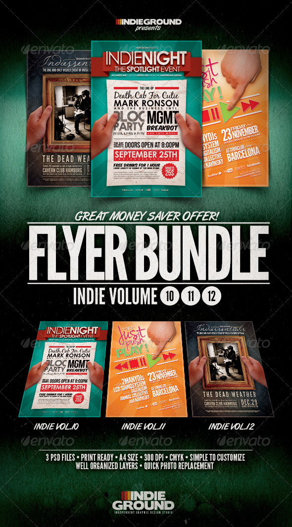 GraphicRiver Indie Flyer Poster Bundle Vol 10-12 914137