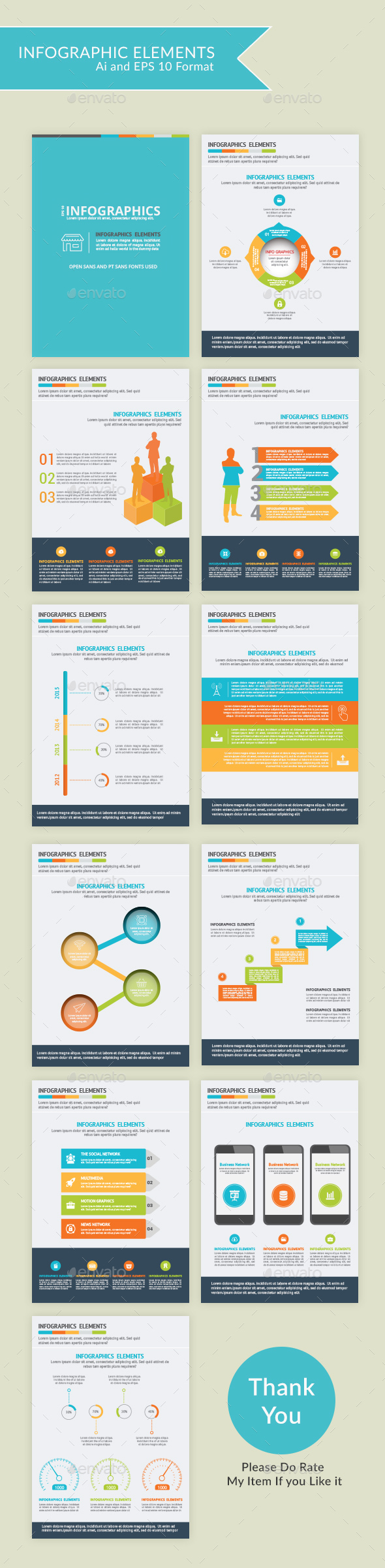 Modern Infographic Elements - 10 pages